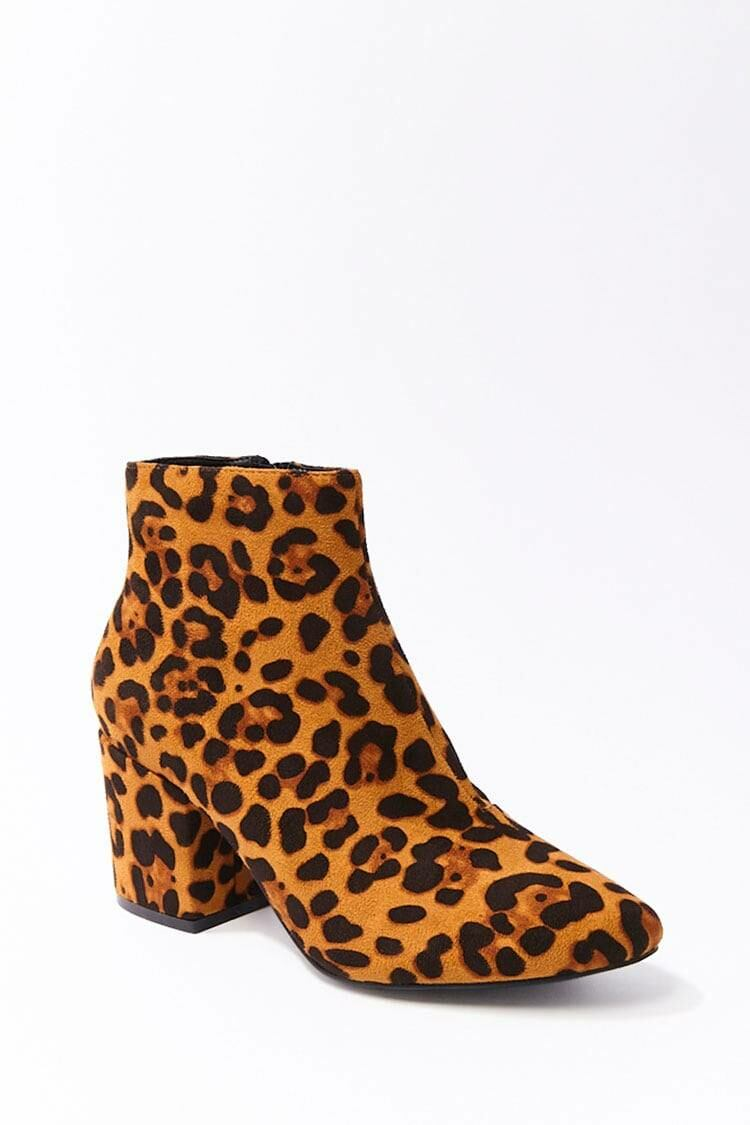 Forever 21 Black/Brown Faux Suede Leopard Print Booties WOMEN Women SHOES Womens ANKLE BOOTS
