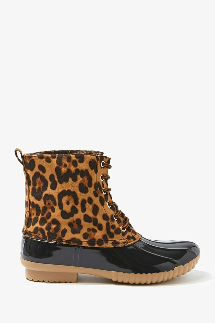 Forever 21 Black/Brown Jaguar Print Duck Boots WOMEN Women SHOES Womens BOOTS