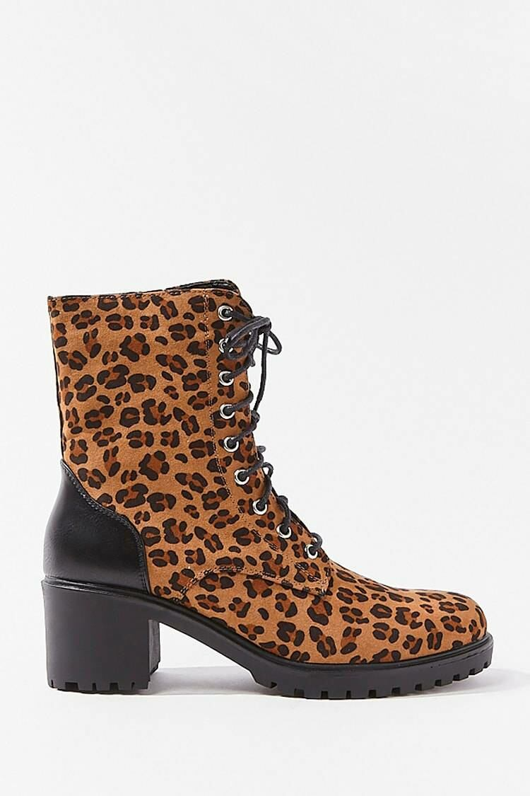 Forever 21 Black/Brown Lace-Up Leopard Print Booties WOMEN Women SHOES Womens ANKLE BOOTS