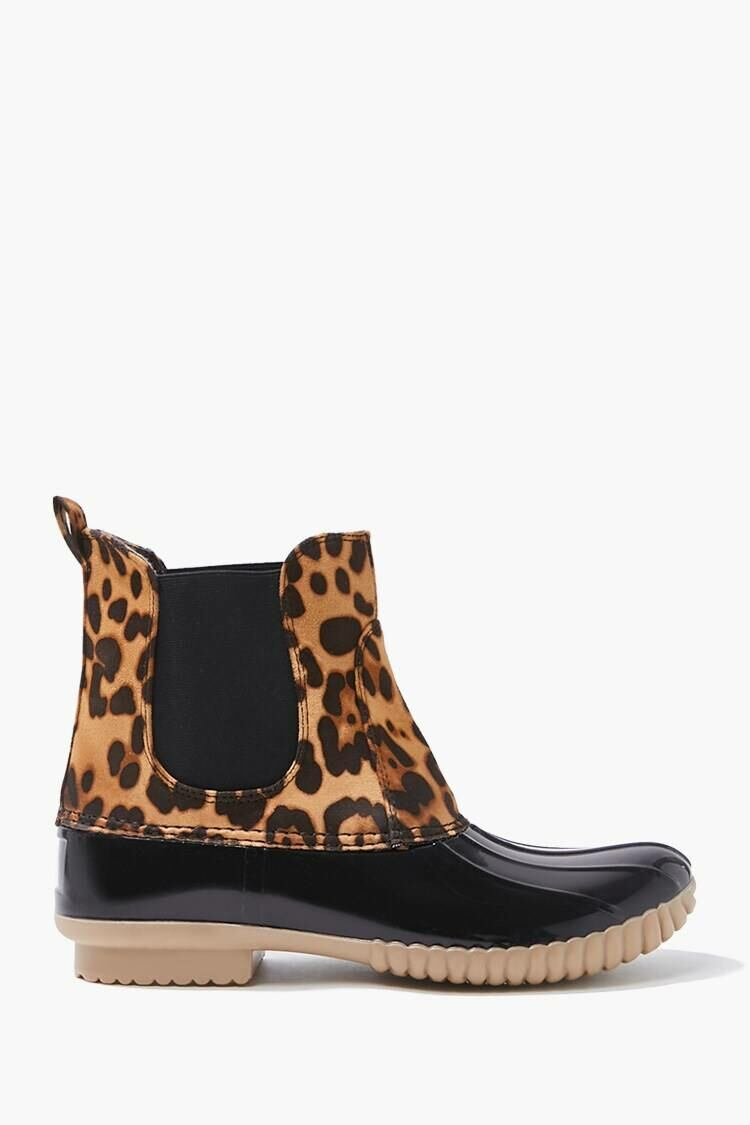 Forever 21 Black/Brown Leopard Print Duck Boots WOMEN Women SHOES Womens BOOTS