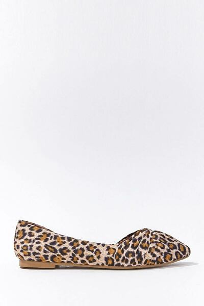 Forever 21 Black/Brown Leopard Twisted Vamp Flats WOMEN Women SHOES Womens FLAT SHOES