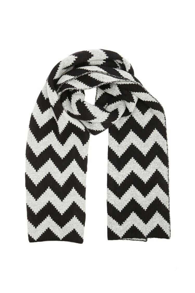 Forever 21 Black/Grey Zigzag Brush Knit Scarf WOMEN Women ACCESSORIES Womens SCARFS