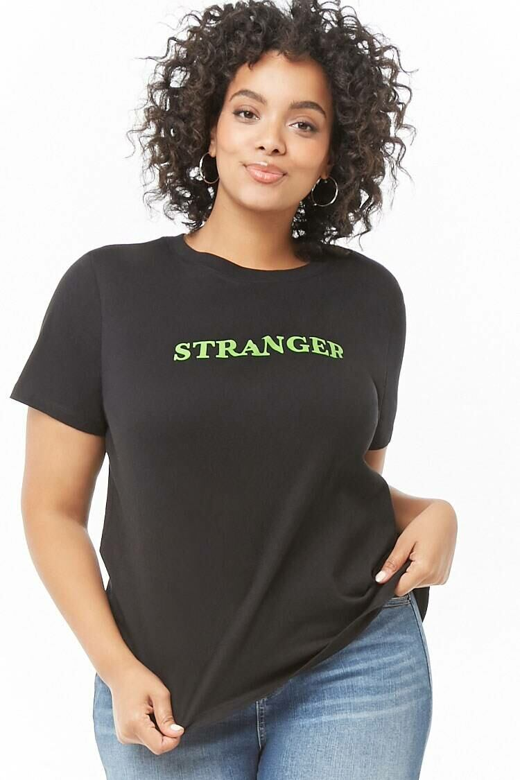 Forever 21 Black/Lime Plus Size Stranger Graphic Tee WOMEN Women FASHION Womens T-SHIRTS