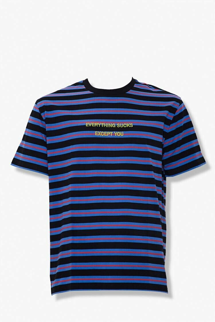 Forever 21 Black/Multi Everything Sucks Embroidered Graphic Tee MEN Men FASHION Mens T-SHIRTS