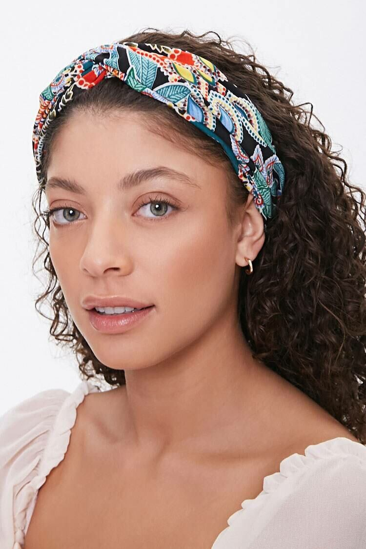 Forever 21 Black/Multi Ornate Twist-Front Headwrap WOMEN Women ACCESSORIES Womens HATS