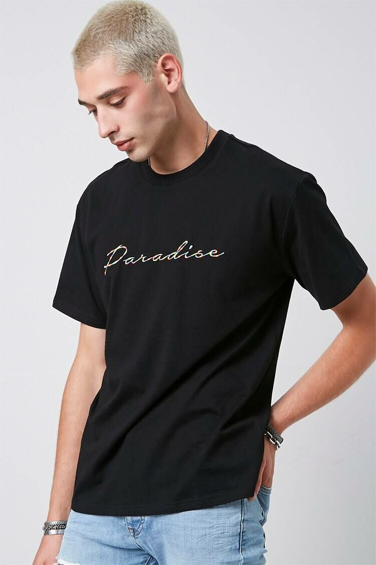 Forever 21 Black/Multi Paradise Embroidered Graphic Tee MEN Men FASHION Mens T-SHIRTS