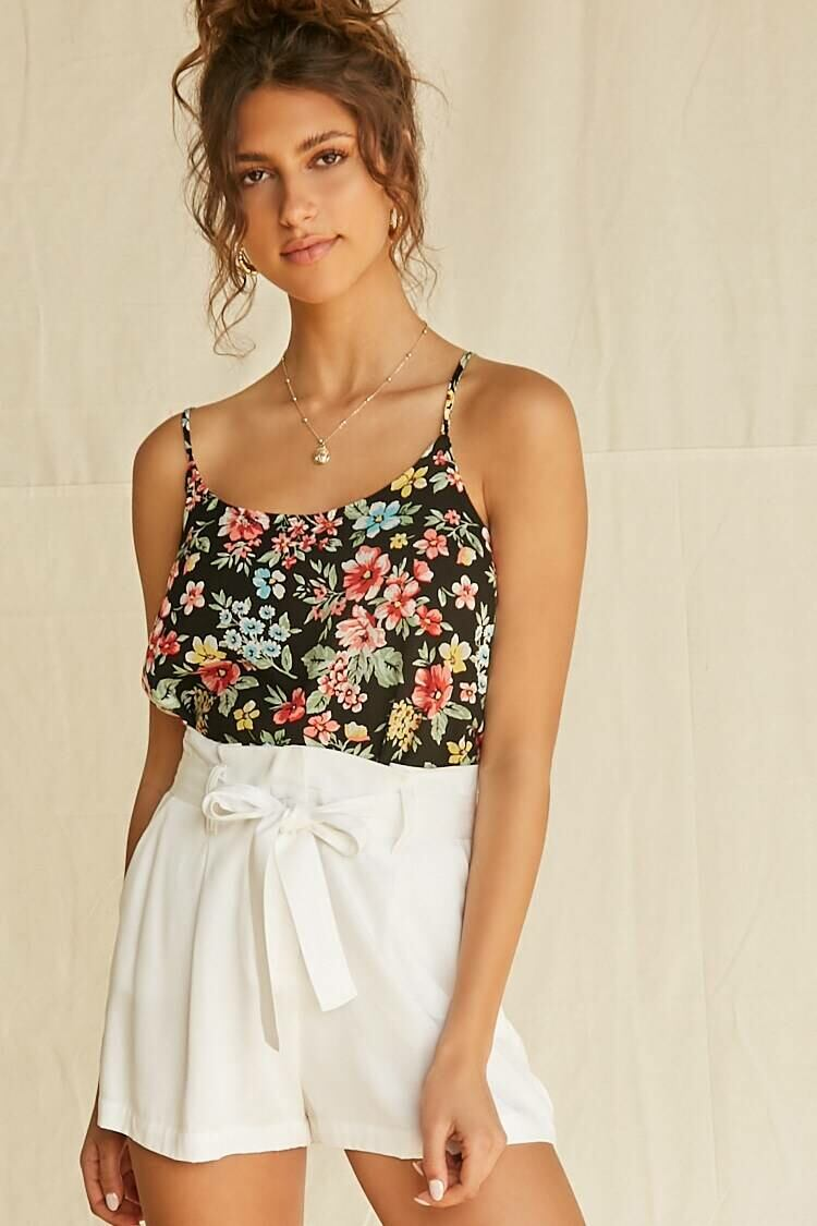 Forever 21 Black/Multi Scoop-Cut Floral Cami WOMEN Women FASHION Womens TOPS