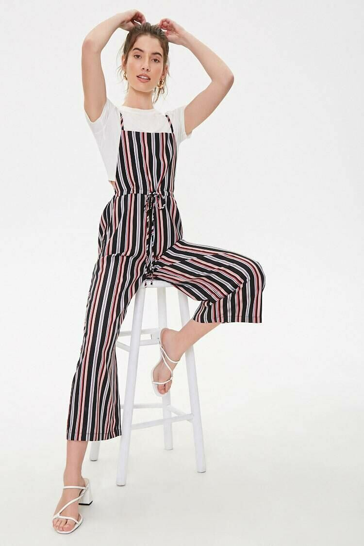 Forever 21 Black/Pink Striped Cami Jumpsuit WOMEN Women FASHION Womens JUMPSUITS