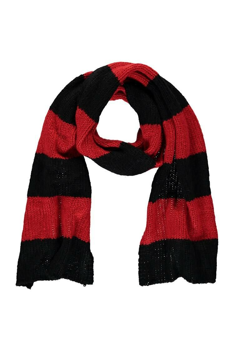 Forever 21 Black/Red Colorblock Oblong Scarf WOMEN Women ACCESSORIES Womens SCARFS
