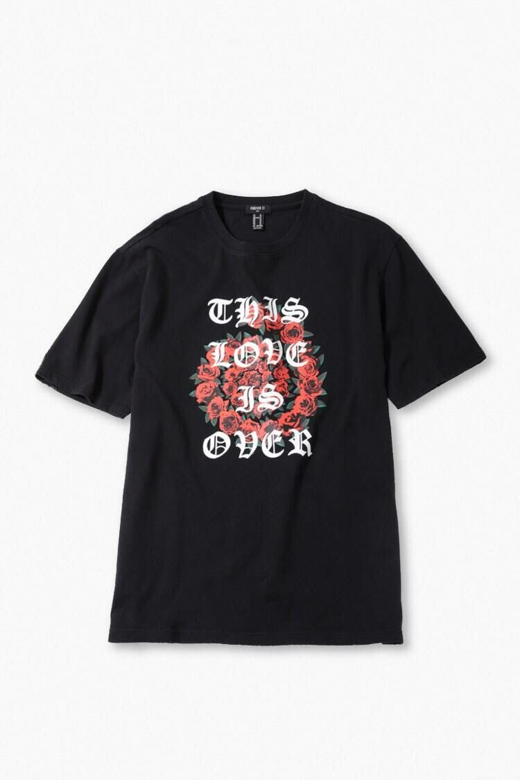 Forever 21 Black/Red This Love is Over Graphic Tee MEN Men FASHION Mens T-SHIRTS
