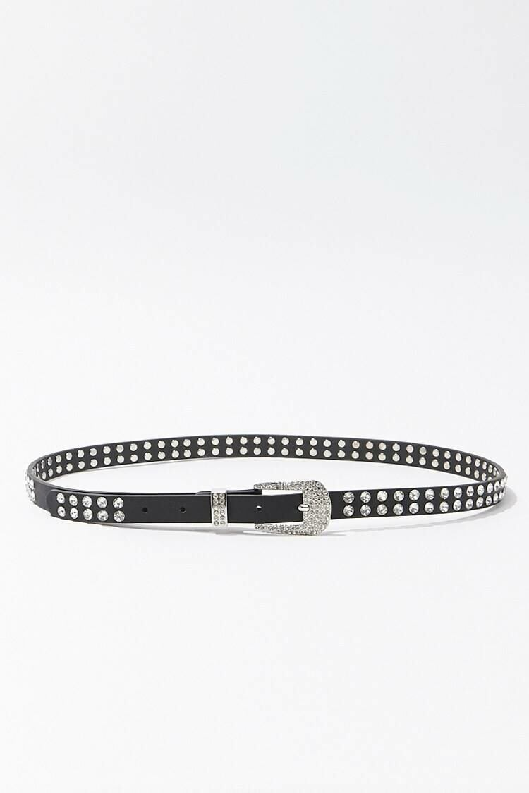Forever 21 Black/Silver Faux Gem Studded Hip Belt WOMEN Women ACCESSORIES Womens BELTS