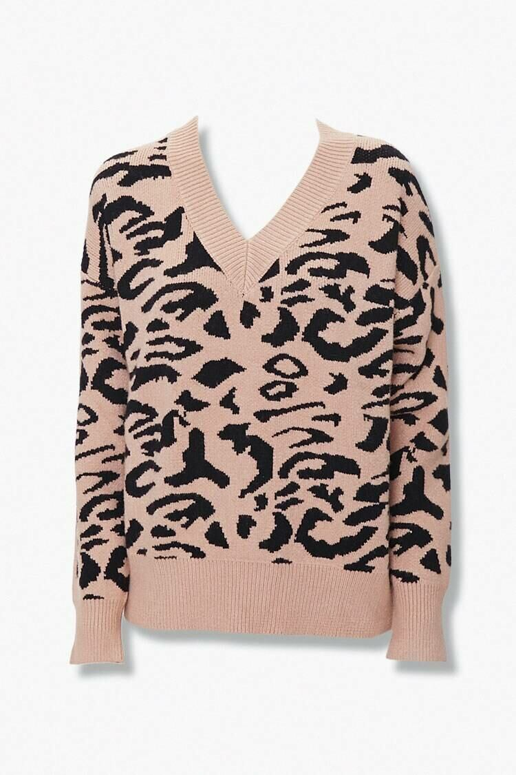 Forever 21 Black/Taupe Animal Print V-Neck Sweater WOMEN Women FASHION Womens SWEATERS