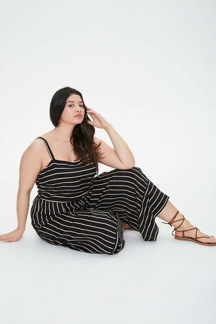 Forever 21 Black/Taupe Plus Size Striped Wide Leg Jumpsuit WOMEN Women FASHION Womens JUMPSUITS