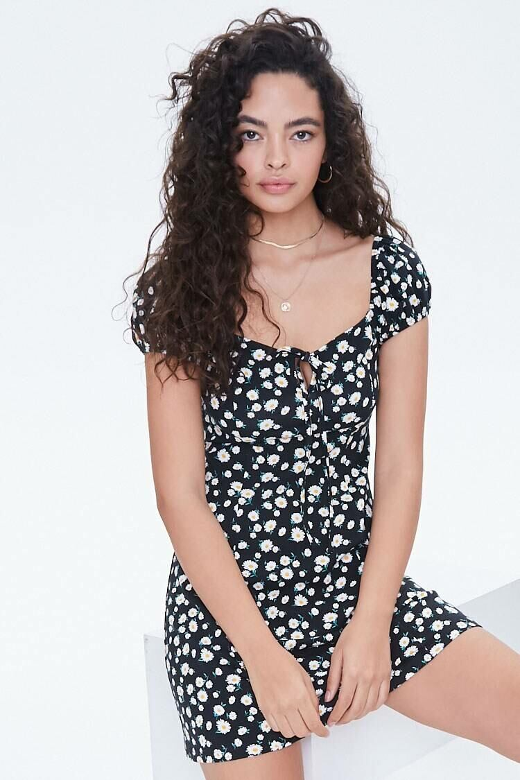 Forever 21 Black/White Daisy Print Self-Tie Bodycon Dress WOMEN Women FASHION Womens DRESSES