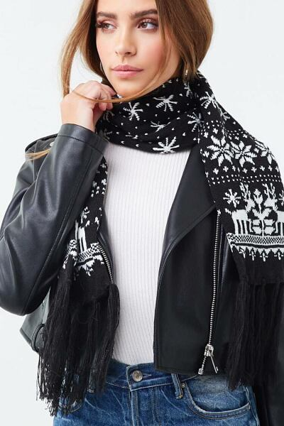 Forever 21 Black/White Fair Isle Oblong Scarf WOMEN Women ACCESSORIES Womens SCARFS