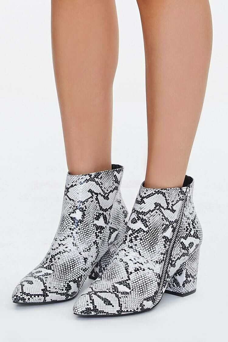 Forever 21 Black/White Faux Snakeskin Booties WOMEN Women SHOES Womens ANKLE BOOTS