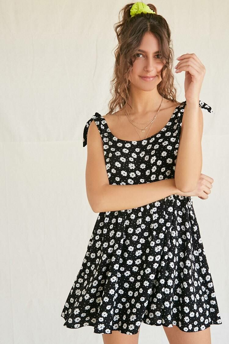 Forever 21 Black/White Floral & Pin Dot Babydoll Dress WOMEN Women FASHION Womens DRESSES