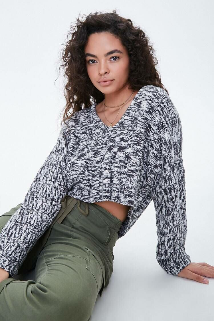 Forever 21 Black/White Marled High-Low Sweater WOMEN Women FASHION Womens SWEATERS