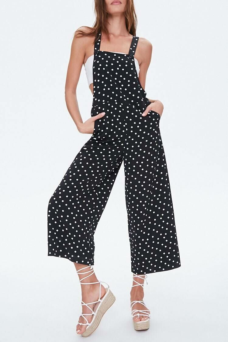 Forever 21 Black/White Polka Dot Overall Jumpsuit WOMEN Women FASHION Womens JUMPSUITS