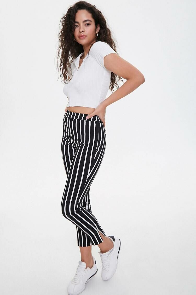 Forever 21 Black/White Vertical Striped Ankle Pants WOMEN Women FASHION Womens TROUSERS