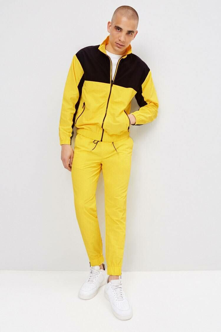 Forever 21 Black/Yellow Ankle-Zip Windbreaker Joggers MEN Men FASHION Mens TROUSERS