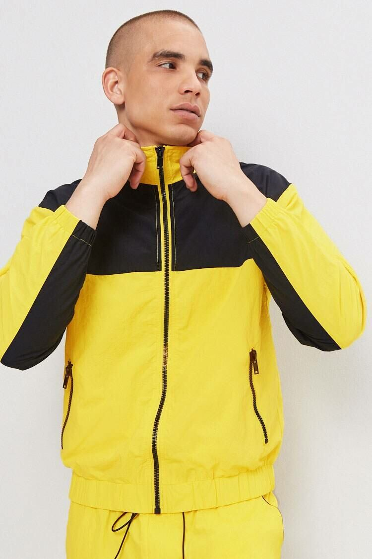 Forever 21 Black/Yellow Colorblock Zippered Windbreaker MEN Men FASHION Mens JACKETS