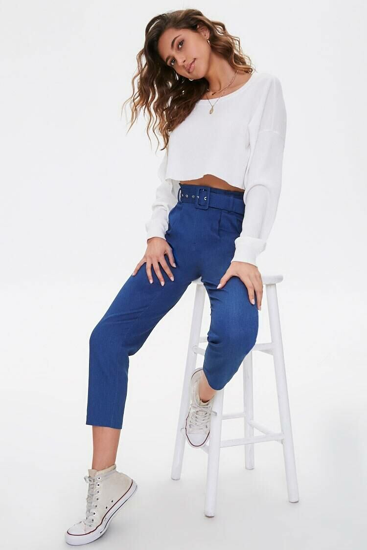 Forever 21 Blue Cropped Belted Paperbag Jeans WOMEN Women FASHION Womens JEANS