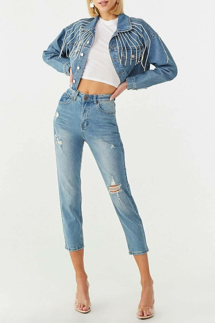 Forever 21 Blue High-Rise Distressed Ankle Jeans WOMEN Women FASHION Womens JEANS
