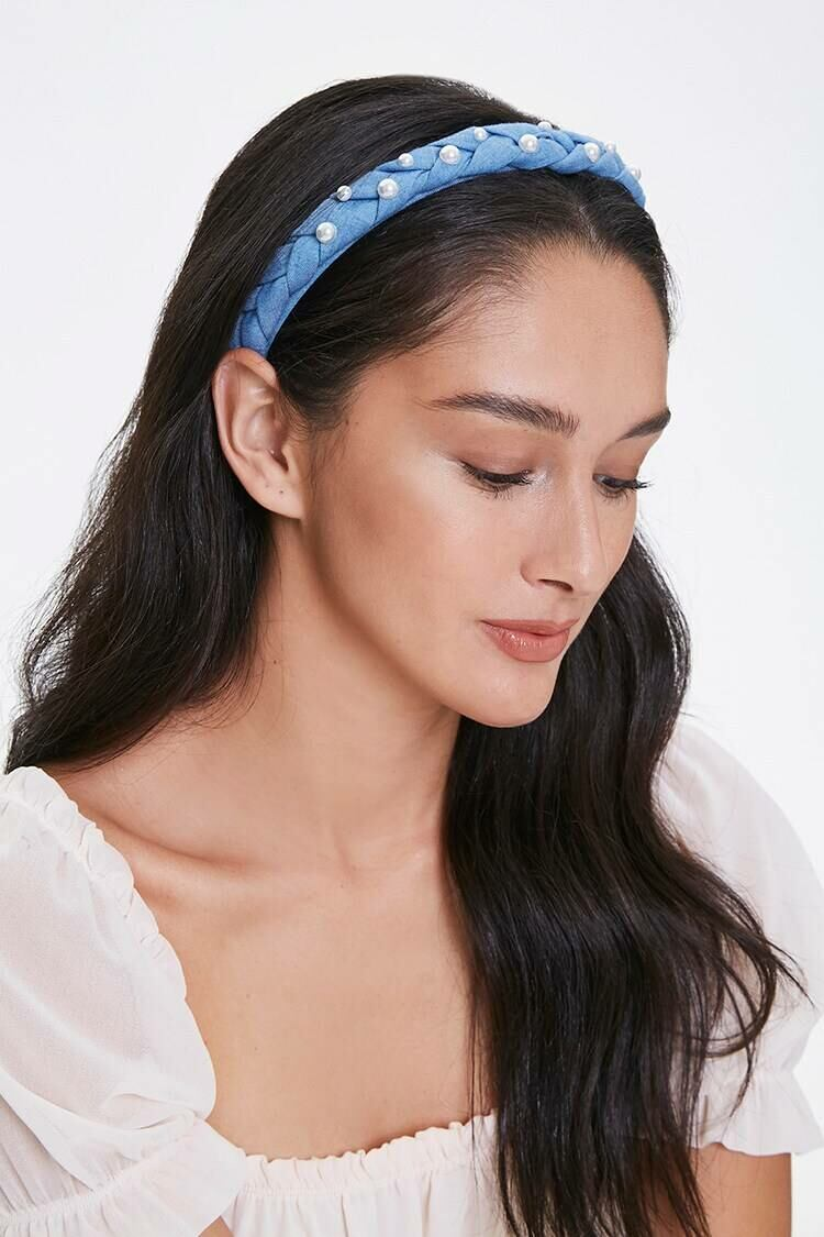 Forever 21 Blue/White Faux Pearl Braided Headband WOMEN Women ACCESSORIES Womens HATS