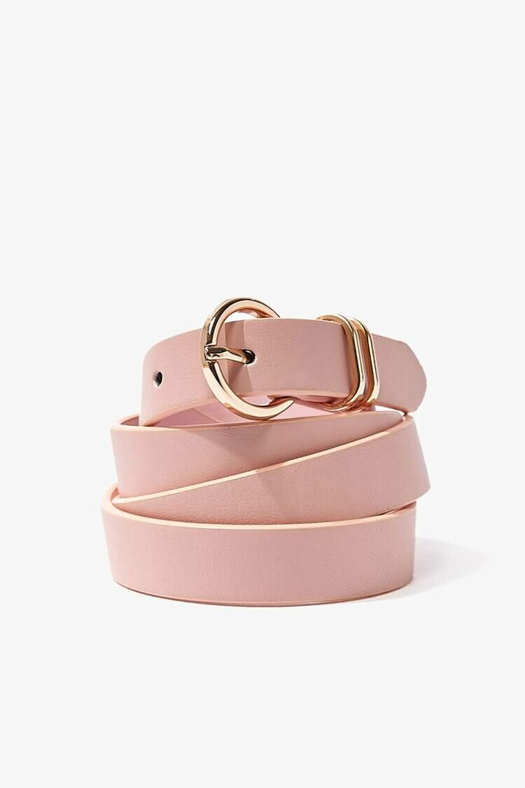 Forever 21 Blush/Gold O-Ring Faux Leather Belt WOMEN Women ACCESSORIES Womens BELTS