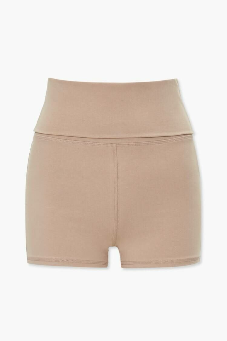 Forever 21 Brown Active Mid-Rise Foldover Shorts WOMEN Women FASHION Womens SHORTS