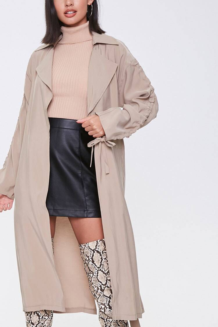 Forever 21 Brown Belted Duster Jacket WOMEN Women FASHION Womens JACKETS