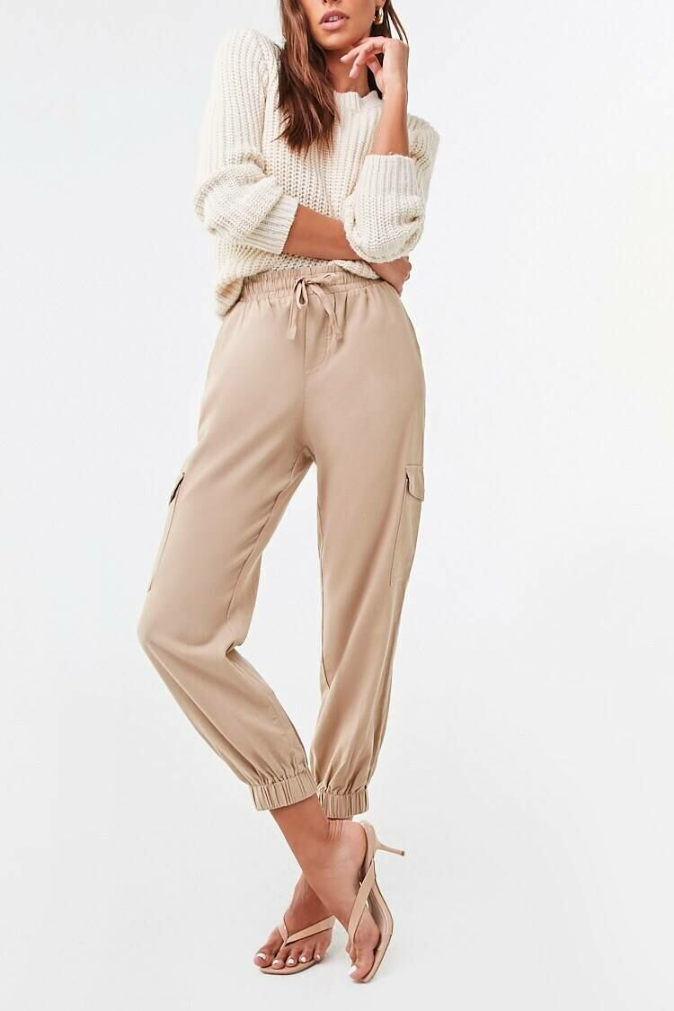Forever 21 Brown Drawstring Ankle Cut Joggers WOMEN Women FASHION Womens TROUSERS
