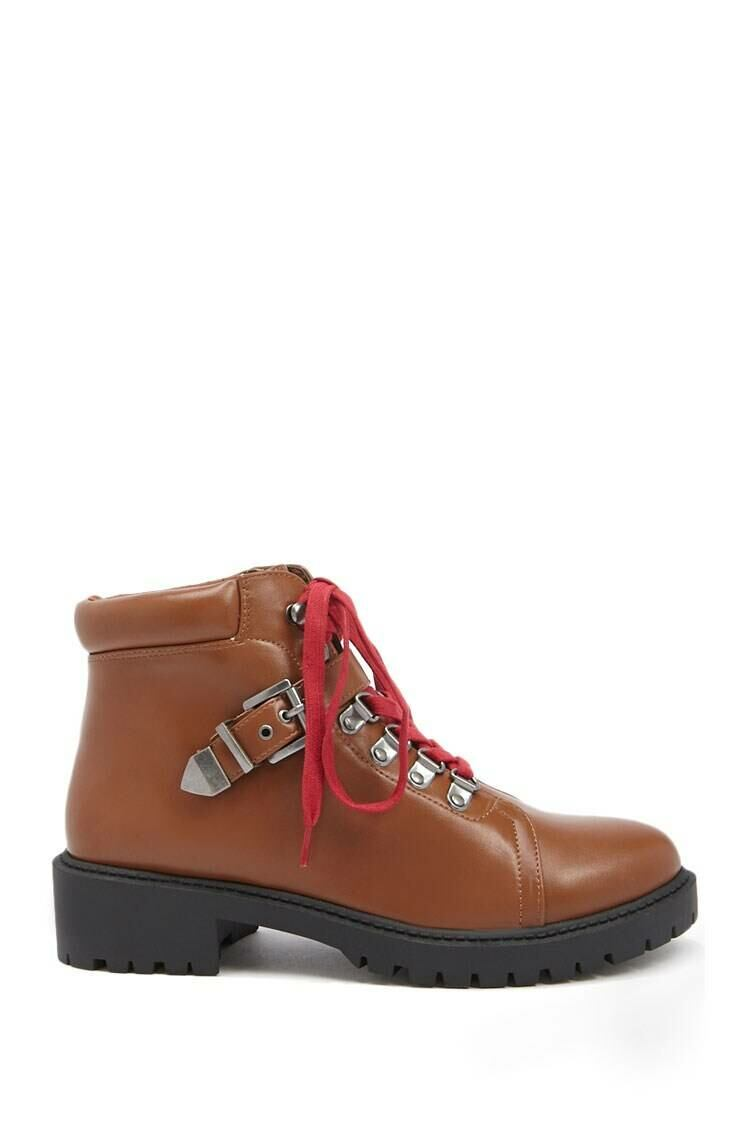 Forever 21 Brown Faux Leather Combat Boots WOMEN Women SHOES Womens BOOTS