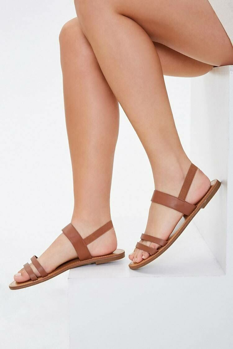 Forever 21 Brown Faux Leather Slip-On Sandals WOMEN Women SHOES Womens SANDALS