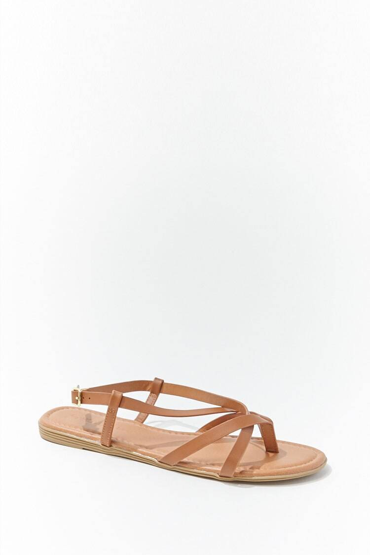 Forever 21 Brown Faux Leather Thong Sandals WOMEN Women SHOES Womens SANDALS