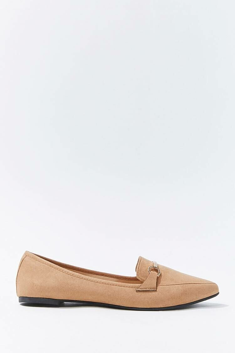 Forever 21 Brown Faux Suede Bar-Accent Loafers WOMEN Women SHOES Womens FLAT SHOES