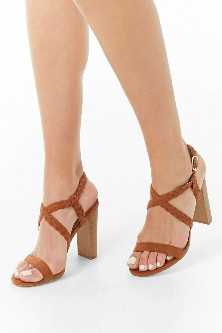 Forever 21 Brown Faux Suede Braided Strap Heels WOMEN Women SHOES Womens HIGH HEELS