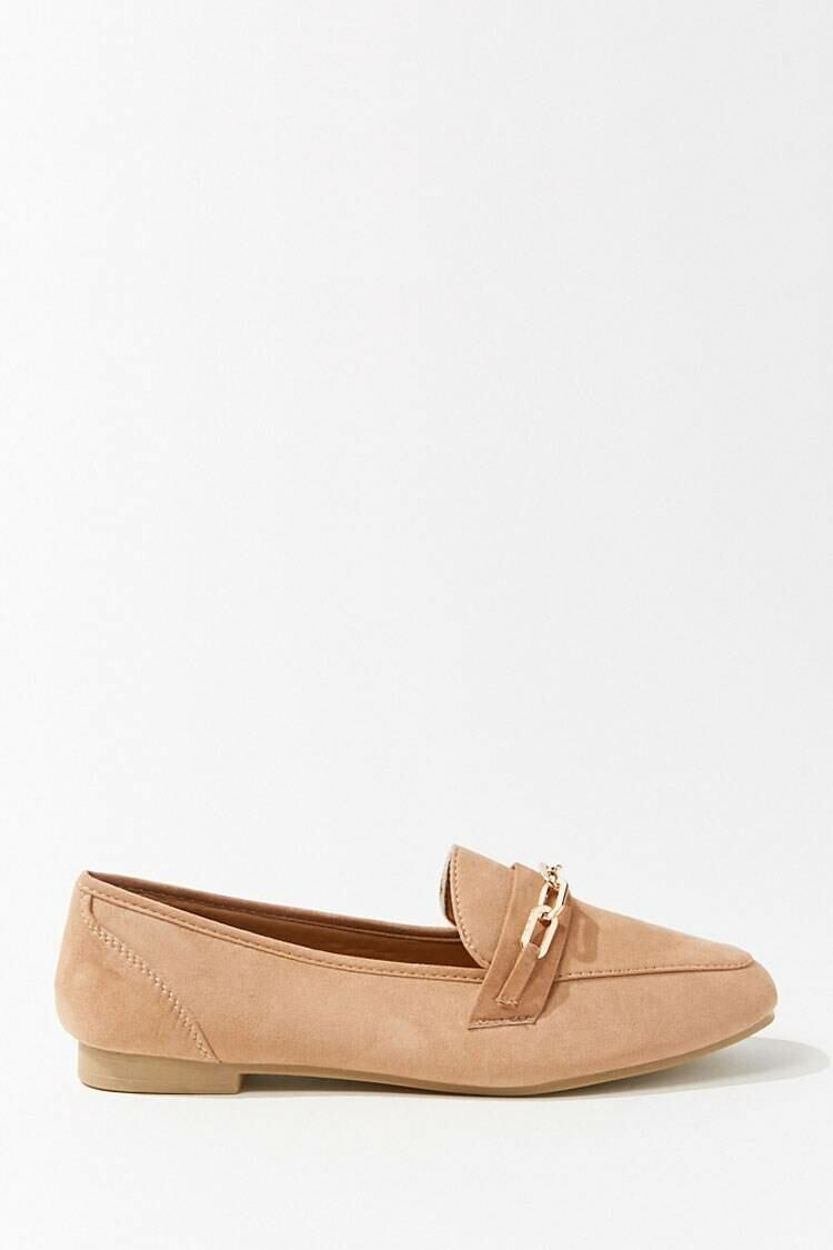 Forever 21 Brown Faux Suede Chain Accent Loafers WOMEN Women SHOES Womens FLAT SHOES