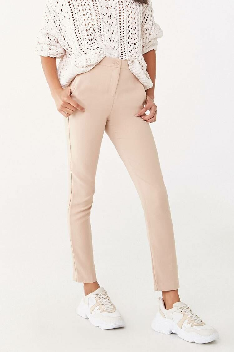 Forever 21 Brown High-Rise Ankle Pants WOMEN Women FASHION Womens TROUSERS
