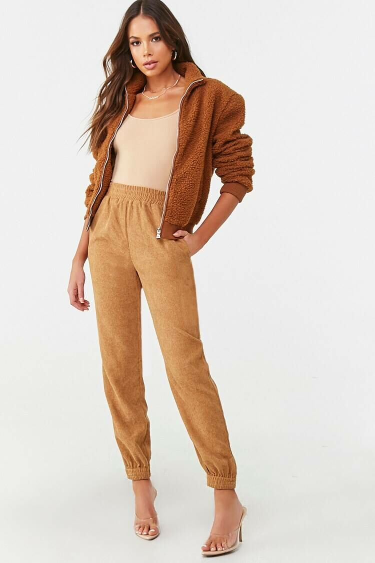 Forever 21 Brown High-Rise Corduroy Joggers WOMEN Women FASHION Womens TROUSERS