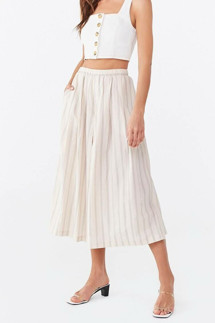 Forever 21 Brown Pinstriped High-Rise Culottes WOMEN Women FASHION Womens TROUSERS