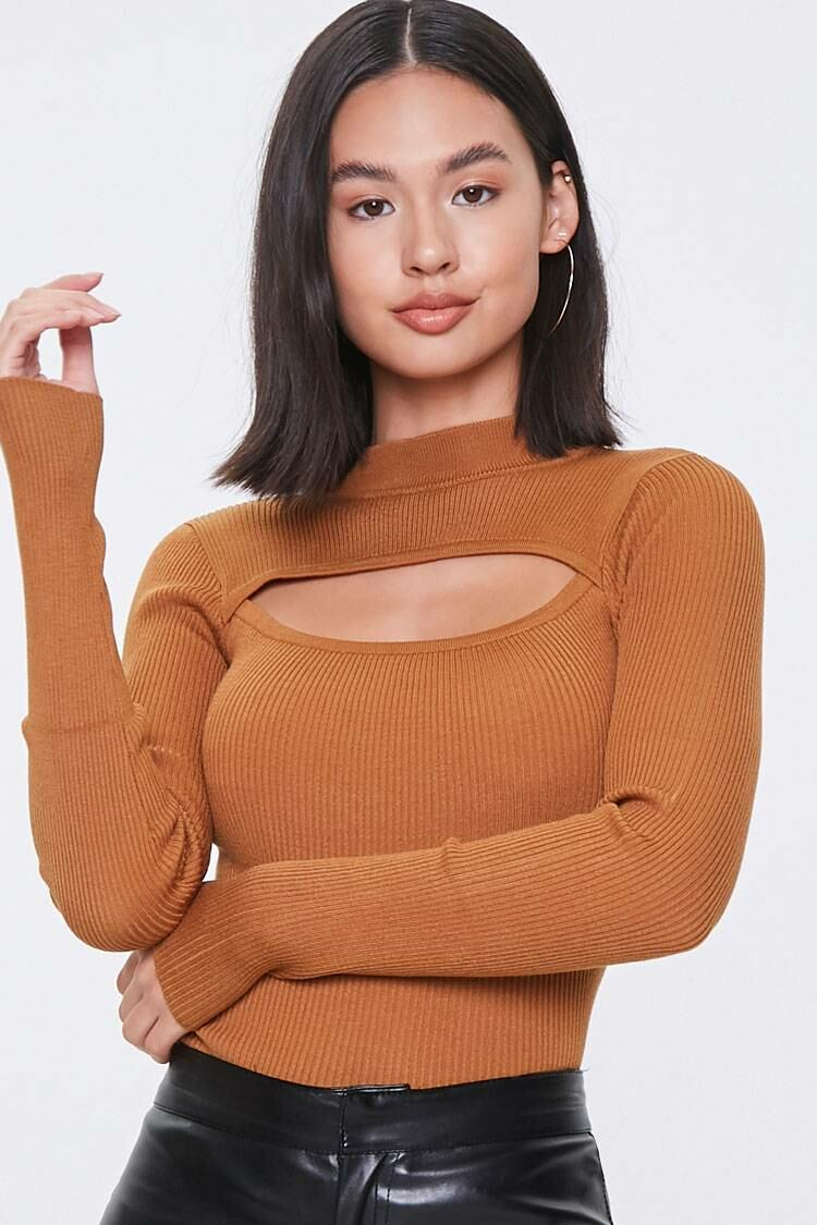 Forever 21 Brown Ribbed Cutout Sweater WOMEN Women FASHION Womens SWEATERS