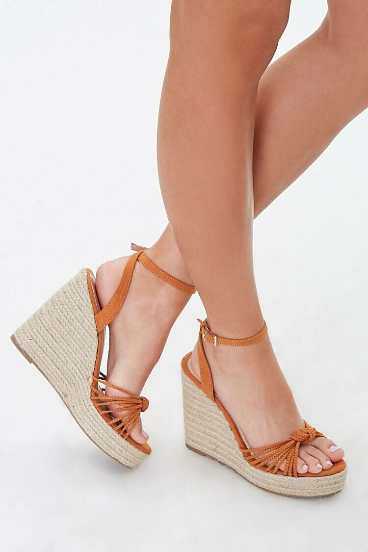 Forever 21 Brown Strappy Knotted Espadrille Wedges WOMEN Women SHOES Womens SLIPPERS