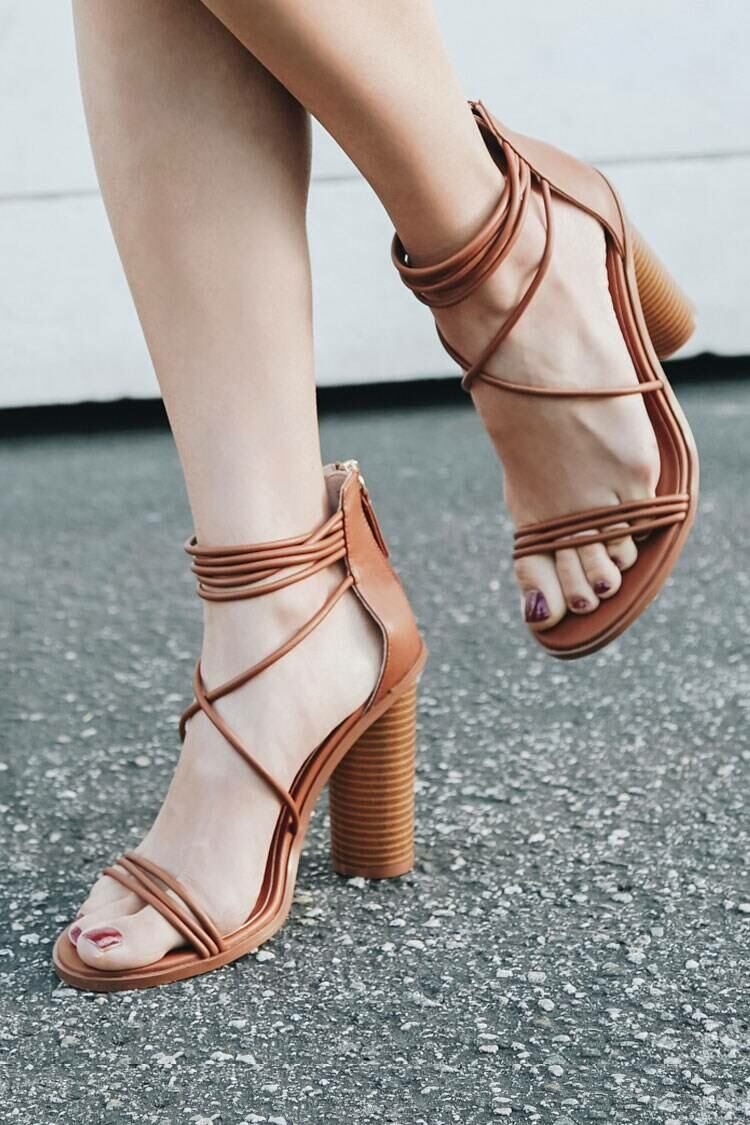 Forever 21 Brown Strappy Stacked Heels WOMEN Women SHOES Womens HIGH HEELS