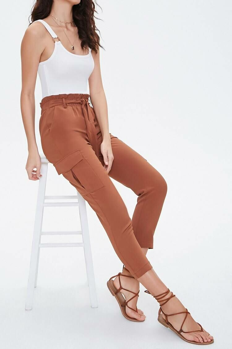 Forever 21 Brown Tapered Paperbag Cargo Pants WOMEN Women FASHION Womens TROUSERS