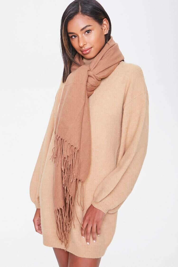 Forever 21 Brown Tassel Oblong Scarf WOMEN Women ACCESSORIES Womens SCARFS