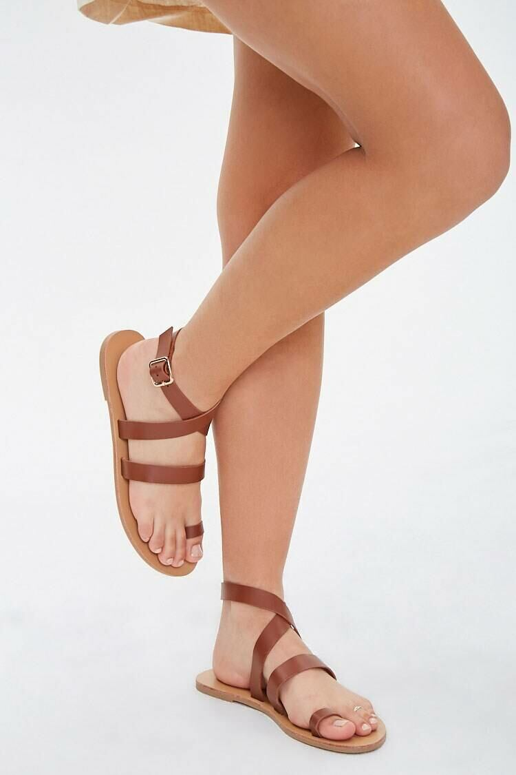 Forever 21 Brown Wraparound Toe-Loop Sandals WOMEN Women SHOES Womens SANDALS