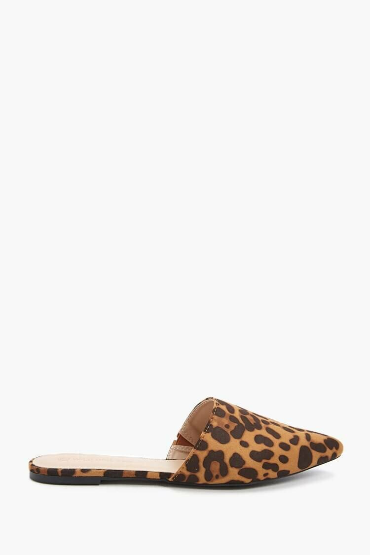 Forever 21 Brown/Black Leopard Print Flat Mules WOMEN Women SHOES Womens SLIPPERS