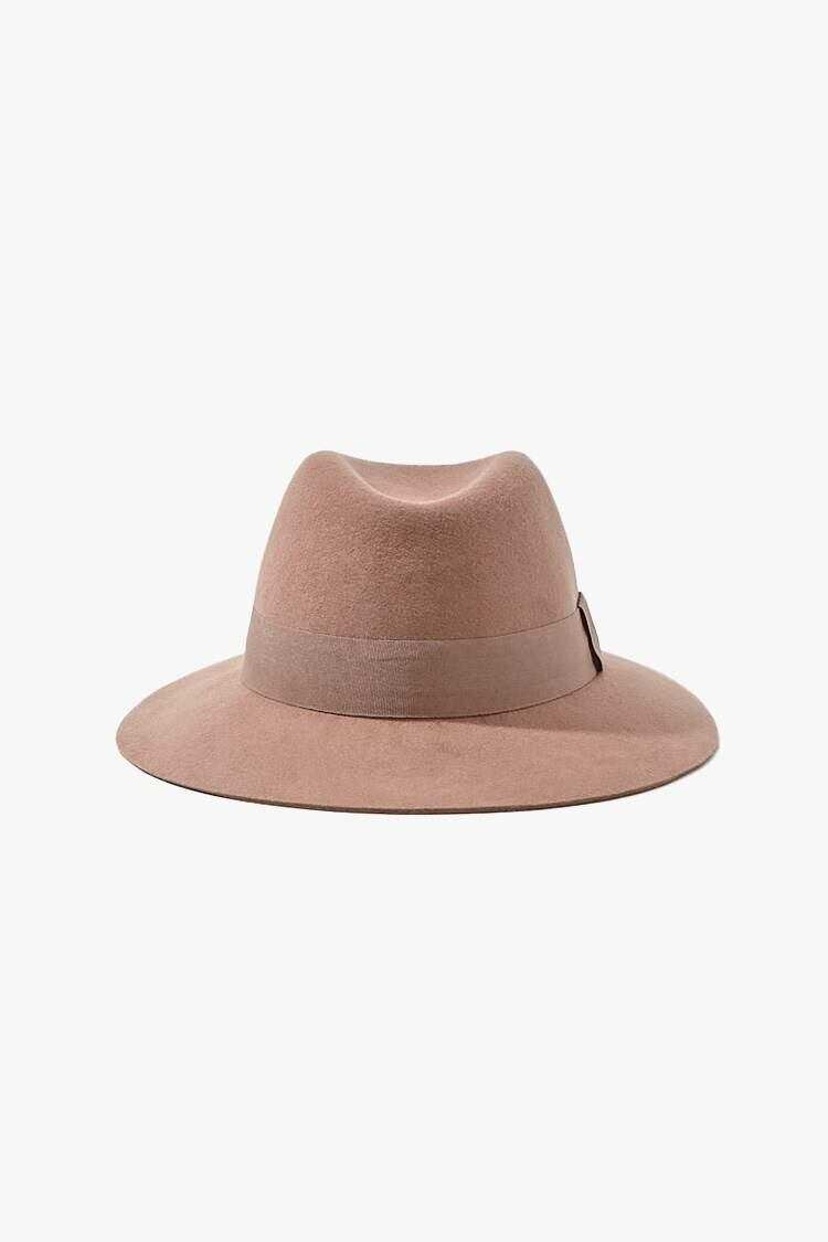 Forever 21 Brown/Brown Brushed Ribbon-Trim Fedora WOMEN Women ACCESSORIES Womens HATS